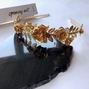 Gold Floral Tiara Crown